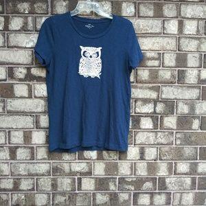 J. Crew blue owl print short sleeve tee size M